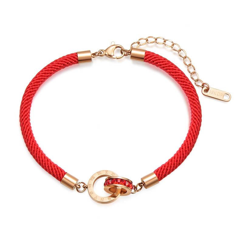 韩国东大门本命年红绳手链女简约转运钛钢红色手绳手工编织不掉色