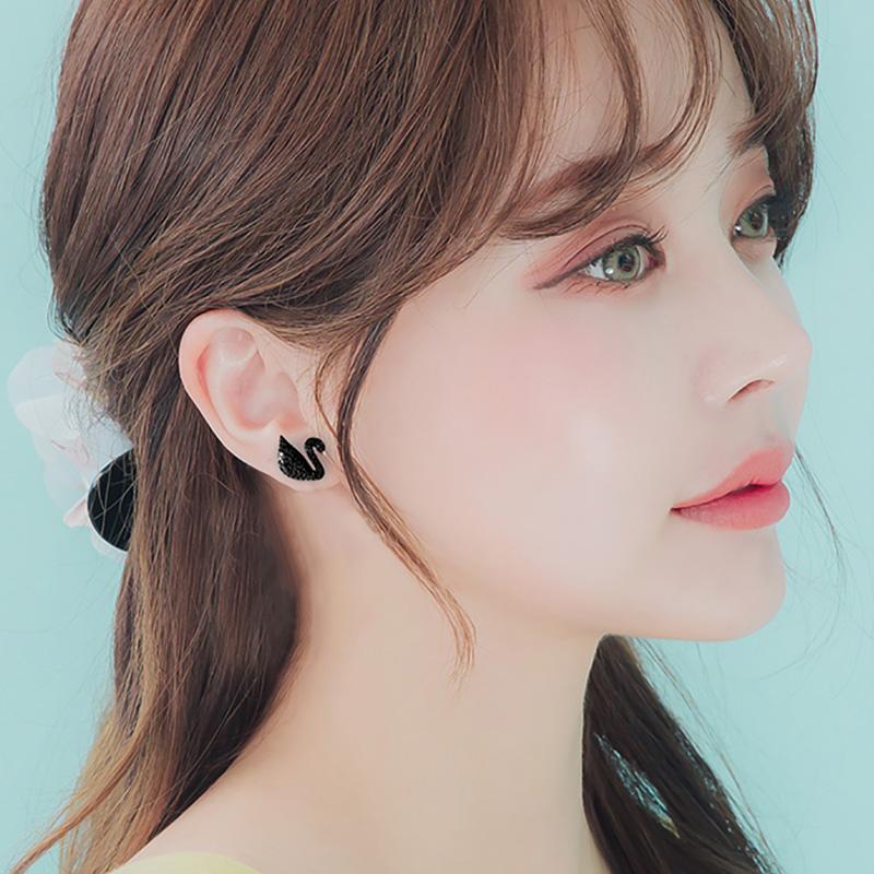 韩国气质简约925银黑天鹅耳钉女士耳环2017新款时尚耳饰防过敏潮