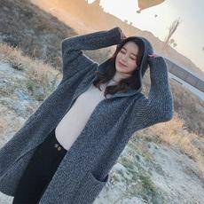 2019春新韩版弹力夹兔绒高品质中长款毛线开衫MY00811-P145 控218