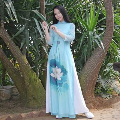 Đầu hoa phụ nữ gốc của Trung Quốc sườn xám Việt Áo cổ áo cổ áo trà Zen dance dress dài ăn mặc váy đầm