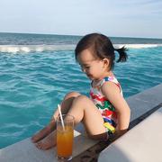Chen Chen Ma bé quần áo trẻ em cô gái mùa hè trẻ em áo tắm màu sóng sọc 1-2-3 tuổi bé một mảnh áo tắm