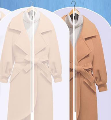 无纺布衣服防尘罩透明挂式家用大衣套袋子10个装超长款的加厚挂袋