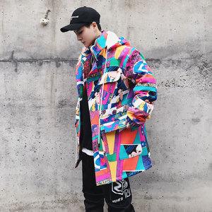 Mrzay mô hình mùa đông có hip-hop quốc gia thủy triều các cặp vợ chồng dài có thể tháo rời nắp áo hoa áo khoác