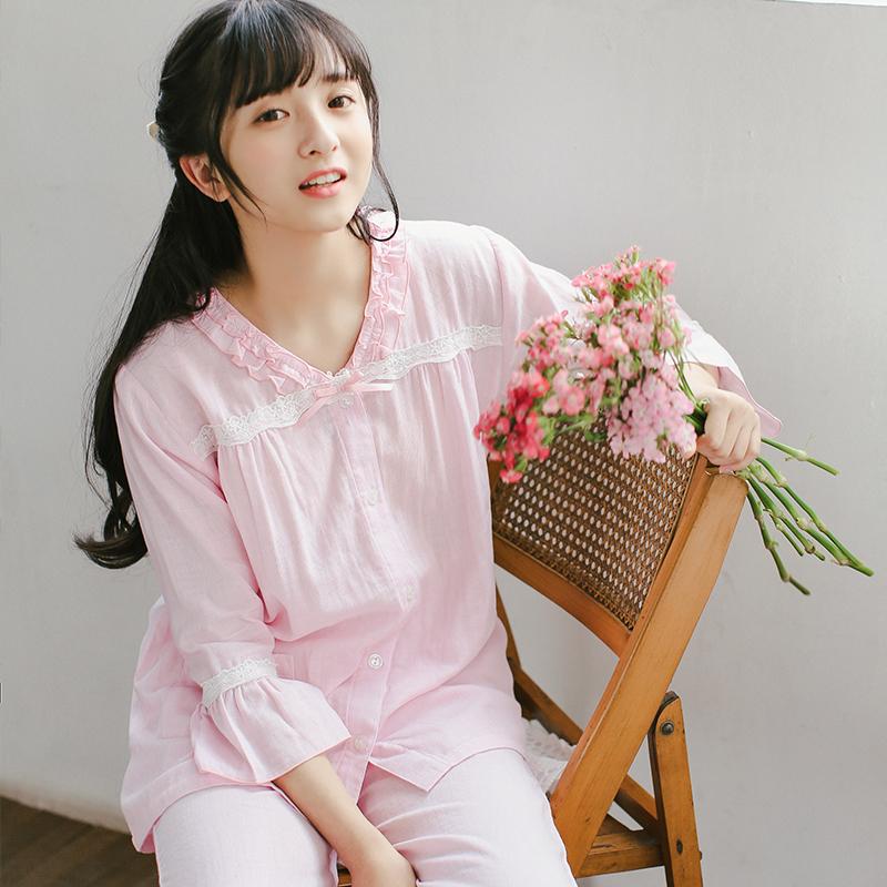 [Shoot 2 Limin] Đồ ngủ nữ mùa xuân và mùa hè dài tay cotton gạc váy ngủ cotton cotton Nhật Bản dịch vụ nhà hai mảnh phù hợp - Bộ Pajama