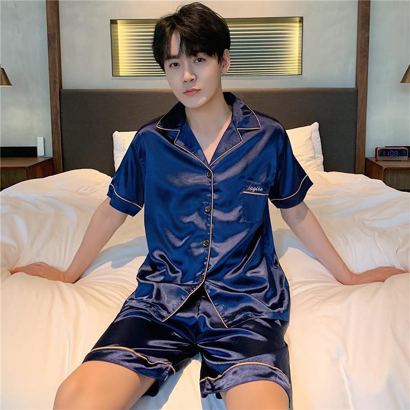 睡衣男士夏季冰丝短袖丝绸薄款宽松大码家居服纯色开衫家居服休闲