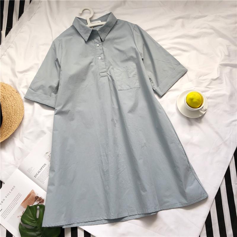 Xy nhà một từ polo cổ áo sơ mi váy nữ tính khí ánh sáng màu xanh lỏng lẻo siêu lửa đầm là mỏng trong váy dài mùa hè