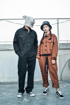 Châu âu và Hoa Kỳ retro mặc giản dị phù hợp với thủy triều nam lỏng jumpsuit quần yếm có dây đeo nam giới và phụ nữ áo sơ mi quần quần áo làm việc onesies