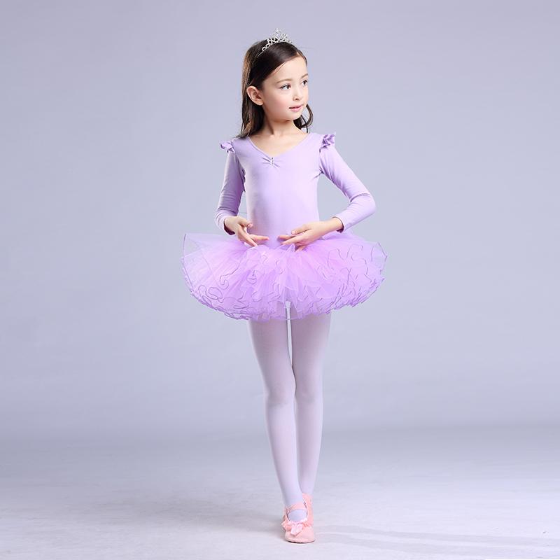 儿童舞蹈服装夏季短袖芭蕾舞裙女童练功服幼儿舞蹈衣服纯棉演出服[优惠15元包邮]