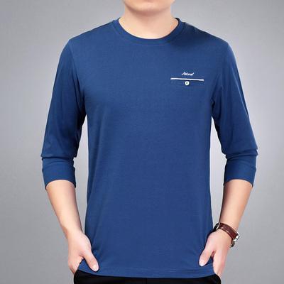 Mùa hè nam cổ tròn T-Shirt trung niên cotton mỏng dài tay t-shirt trung niên cha nạp kích thước lớn của cha áo sơ mi áo thun nam trung niên Áo phông dài