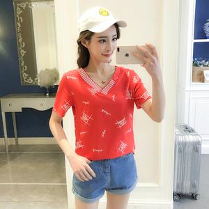 4122#实拍夏天新款韩版图案短袖T恤女宽松ins半袖上衣打底衫潮