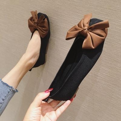 欧美风秋冬季新款女鞋子蝴蝶结布面方头浅口平跟平底女单鞋