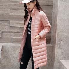 100%白鸭绒实拍2018新款轻薄羽绒服女韩版大码修身中长款气质外套
