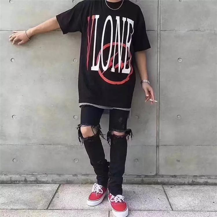 Vlone X FRAGMENT 藤原浩联名 Logo闪电红V 短袖T恤TEE 情侣