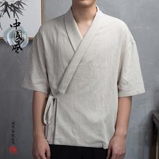 春夏中国风棉麻短袖男中袖复古唐装中式潮流汉服大码茶服佛系禅服