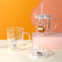 明尚德儿童刻度家用牛奶杯微波炉可加热玻璃吸管杯子带盖带把水杯