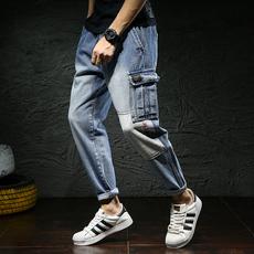 D实拍秋冬长裤小脚牛仔裤男装韩版潮修身哈伦裤男士长裤男D1823
