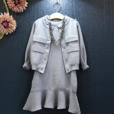 秋季新款新品针织衫女童开衫+鱼尾裙两件套毛线荷叶边裙