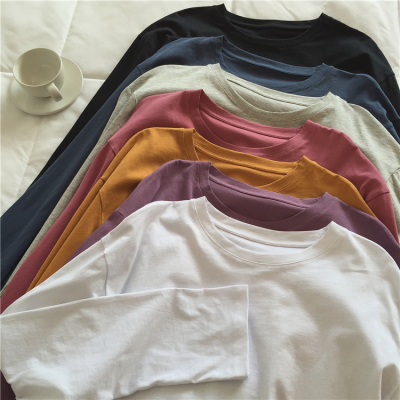 taobao agent Muzi 2021 autumn / daily wear dou can be multi-color loose round neck all-match T-shirt female long-sleeved basic bottoming shirt