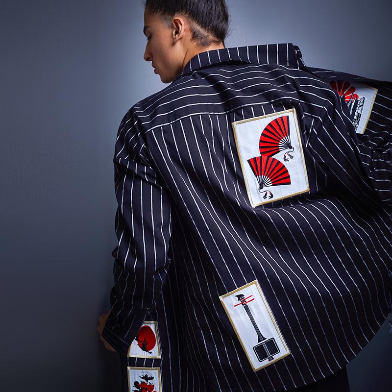 贝勒府中国风新款刺绣衬衫红扇子竖条纹oversize宽松衬衣外套男士