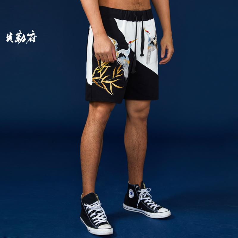 贝勒府夏季新款中国风仙鹤刺绣纯棉运动短裤男士国潮嘻哈五分裤