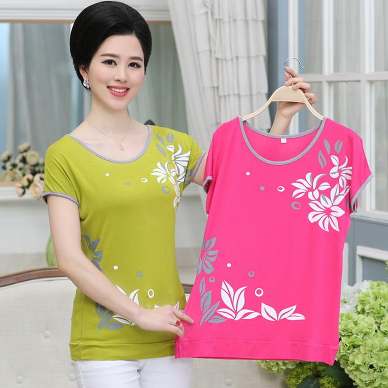 Phụ nữ trung niên của mùa hè ăn mặc 40-50 tuổi kích thước lớn mẹ nạp phương thức bông ngắn tay T-Shirt của phụ nữ nửa tay áo sơ mi