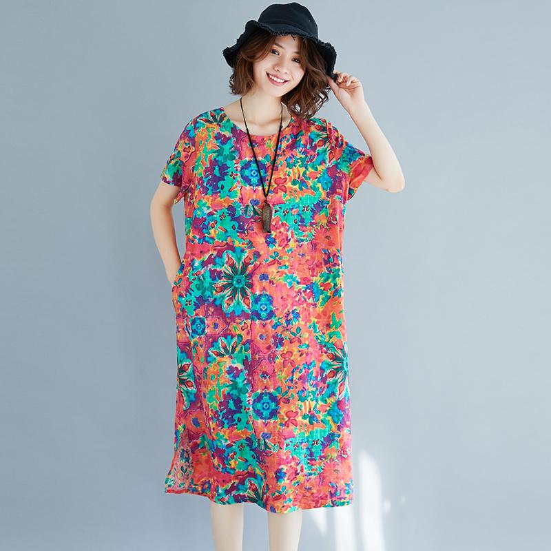 民族风大码女装夏装新款短袖印花复古文艺宽松棉麻中长款连衣裙子
