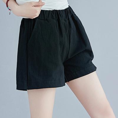 夏季大码女装微胖mm宽松显瘦百搭宽松休闲棉麻短裤女裤子薄款