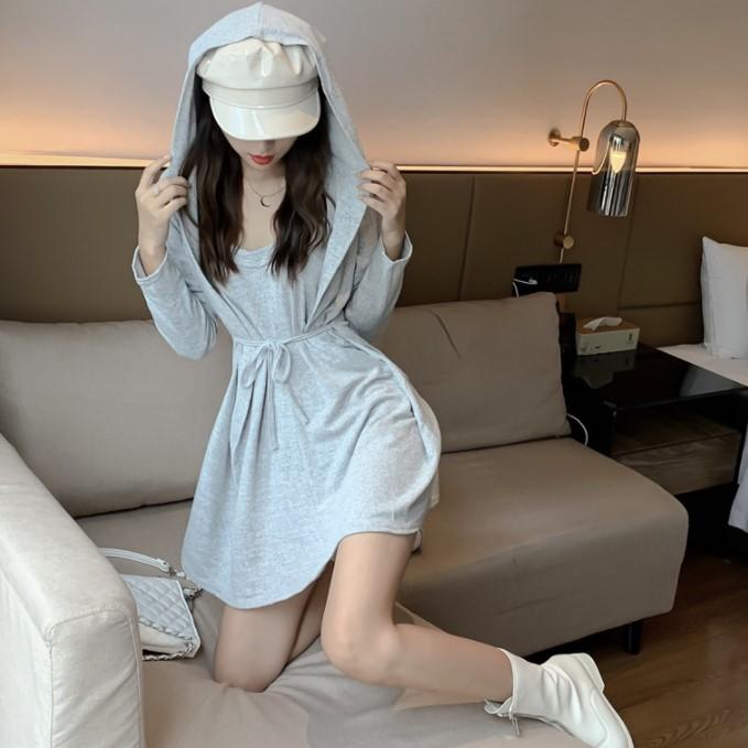 2019秋季新款宽松系带假两件连帽裙子收腰长袖T恤连衣裙短裙女装