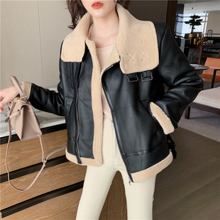 2019 autumn and winter new loose thick imitation lamb fur hair all-in-one PU leather motorcycle coat jacket women's clothing