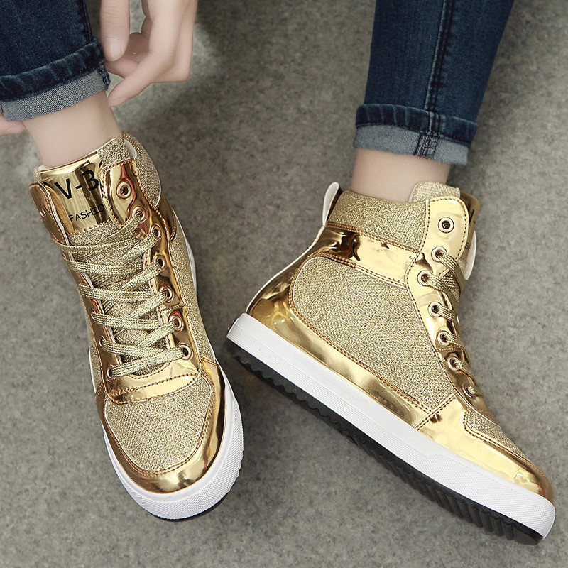 sequins womens metallic gold girls sneakers lace up