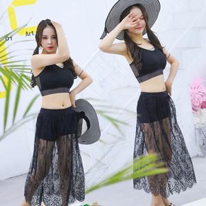 Áo tắm nữ chia phẳng váy ba mảnh bộ bikini áo tắm trắng đen bikini đẹp trở lại áo tắm nữ