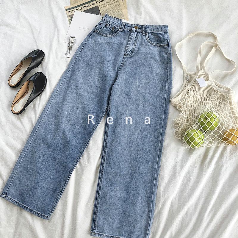 RENA đề nghị mùa thu siêu đơn giản retro cũ rửa màu xanh cao eo là mỏng cao bồi hoang dã quần chân rộng quần phụ nữ