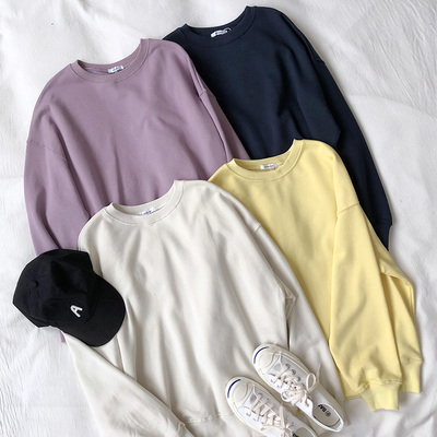 RENA recommended retro autumn simple solid foundation gentle romantic wild round neck pullover sweater coat