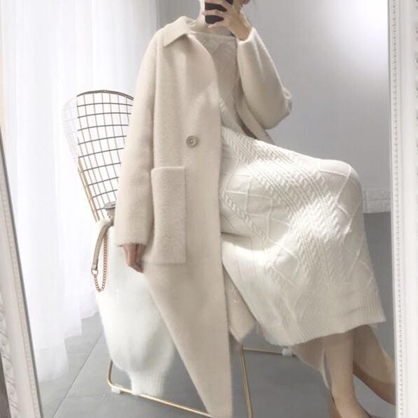 2018 mùa thu và mùa đông mới phần dài dày lỏng lỏng nhung áo len áo khoác của phụ nữ đan áo len chống mùa áo