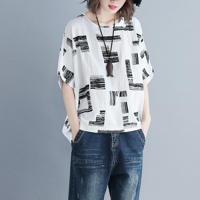短袖t恤女显瘦夏装新款200斤胖MM棉麻印花宽松百搭蝙蝠袖上衣