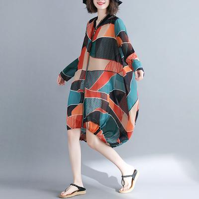 夏装200斤宽松大码显瘦不规则印花雪纺长袖开衫百搭防晒衣外套女