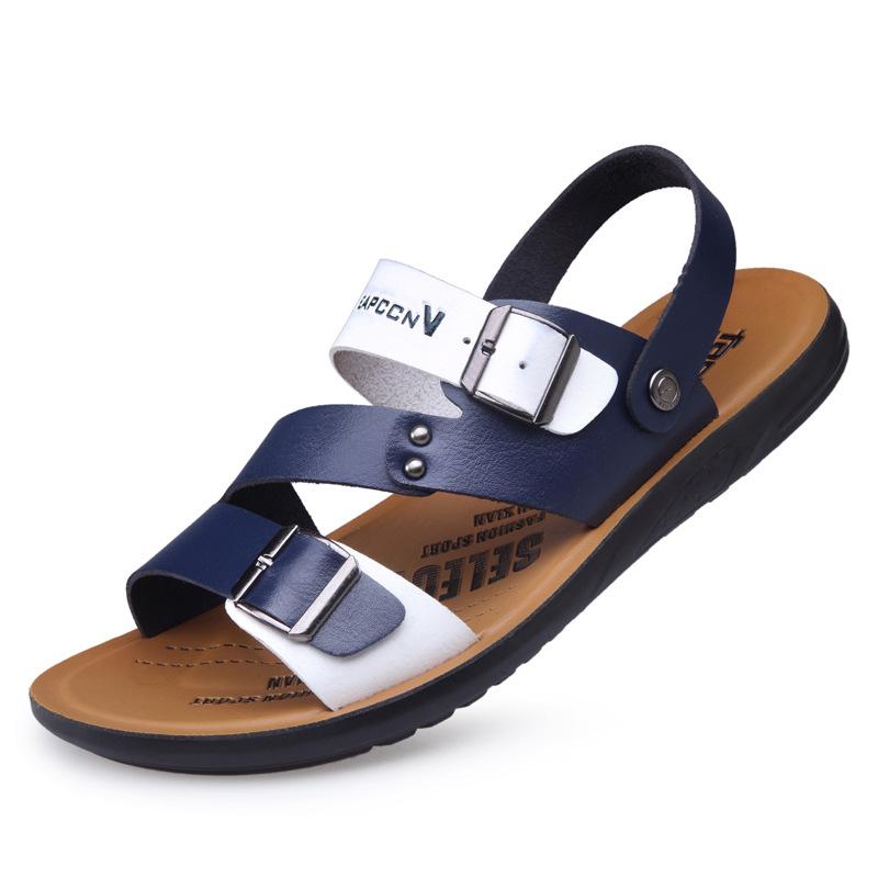 夏季新款防水防滑超纤透气沙滩鞋男士青年拼色学生时尚凉鞋男_淘宝优惠券