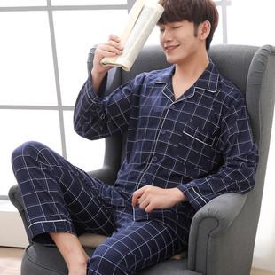 男士春秋季纯棉长袖睡衣套装