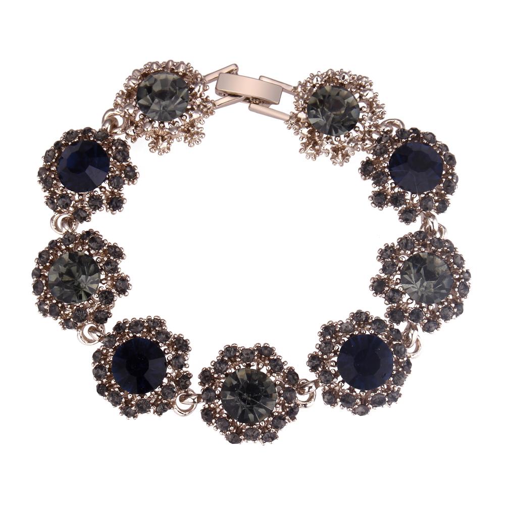 欧美时尚 奢华水钻花朵手链 百搭配饰气质手链