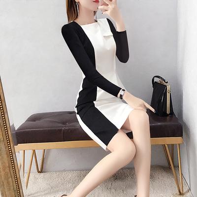 20119流行裙子秋款遮肚子连衣裙女春秋长袖荷叶边包臀裙气质显瘦