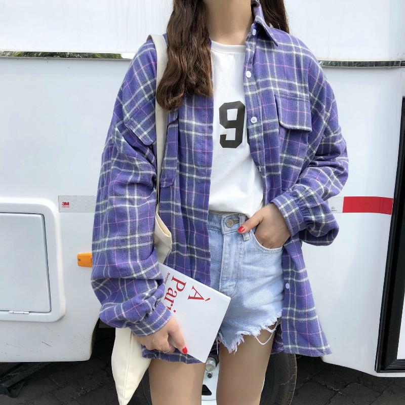 格子衬衫夏薄 韩版宽松长袖防晒衬衣外套女2018春装新款inspolo衫