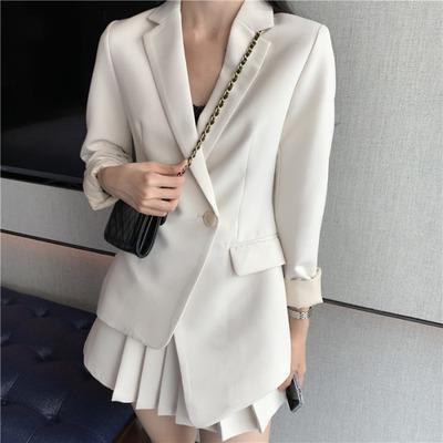 女初秋装年新款长袖西装外套+高腰半身裙小香风两件套装