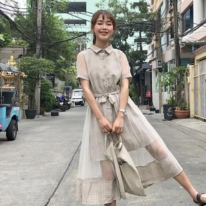 Mùa hè phụ nữ mới lỏng lẻo sinh viên retro lưới khâu giả hai mảnh đàn hồi eo váy váy dài