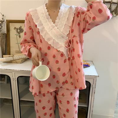 秋季薄款可爱草莓长袖开衫长裤家居服套装睡衣两件套女可外穿