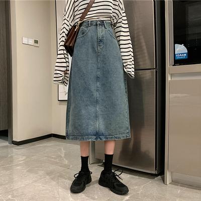 taobao agent Denim skirt skirt female mid-length skirt 2021 new summer Korean version of the high waist a-line skirt small retro
