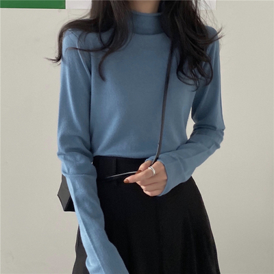 taobao agent Base shirt half high neck women's early spring and autumn knit sweater 2021 new all-match sweater with long-sleeved top clothes