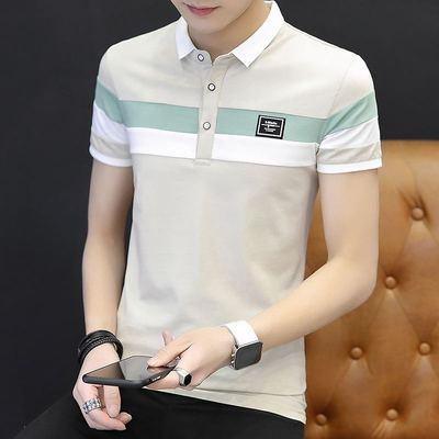 Nam ngắn tay áo thun mùa hè ve áo bông xu hướng trên quần áo thanh niên Hàn Quốc phiên bản của người đàn ông tự canh tác cổ áo polo áo có cổ Polo