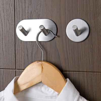 304不锈钢免钉粘钩门后粘胶挂衣架 浴室墙壁强力无痕粘贴小挂钩