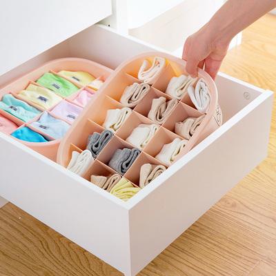 分格内衣收纳盒有盖内裤盒子袜子收纳格家用塑料文胸内衣裤整理盒