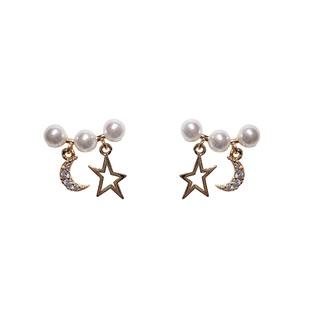 韩国东大门新款气质珍珠星月耳环